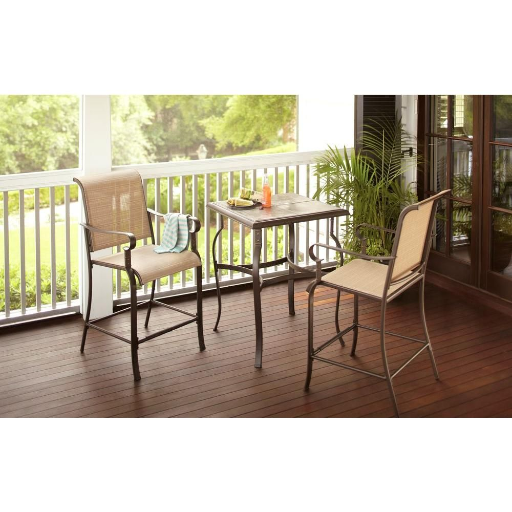 Hampton Bay Belleville 3 Piece High Patio Dining Set