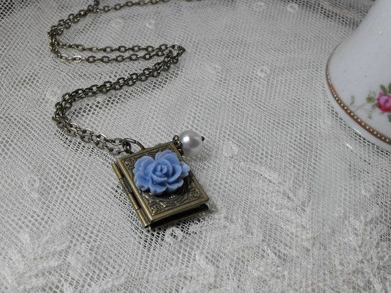 Locket  Necklace  Pearl Rose Antique Brass by CreativePleasuresEtc, $14.00