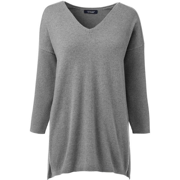 Lands' End Women's Plus Size Cashmere 3/4 Sleeve Tunic Sweater ...