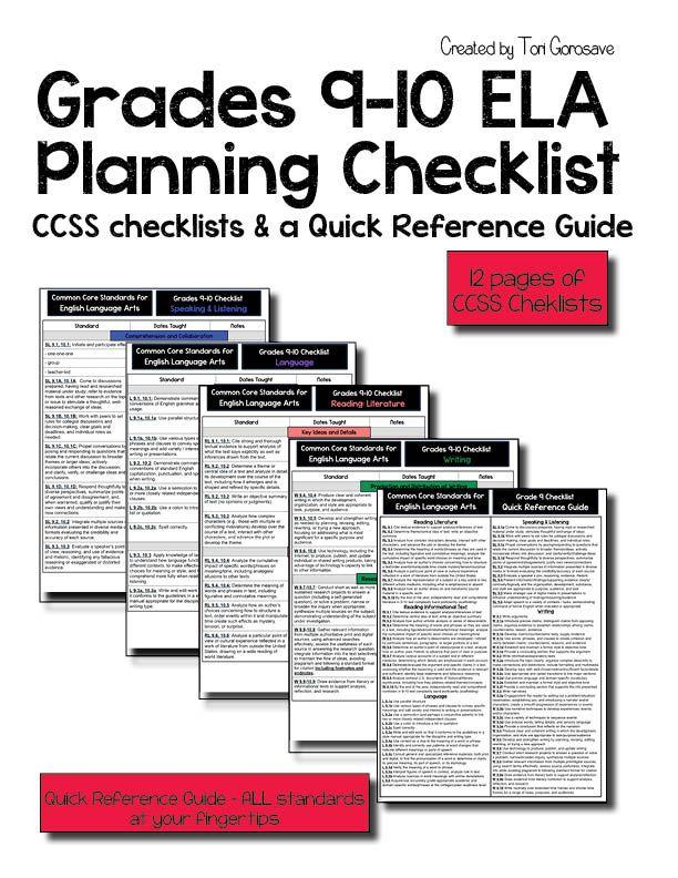Grades 9-10 ELA Common Core Checklist Write notes, Microsoft - checklist format word