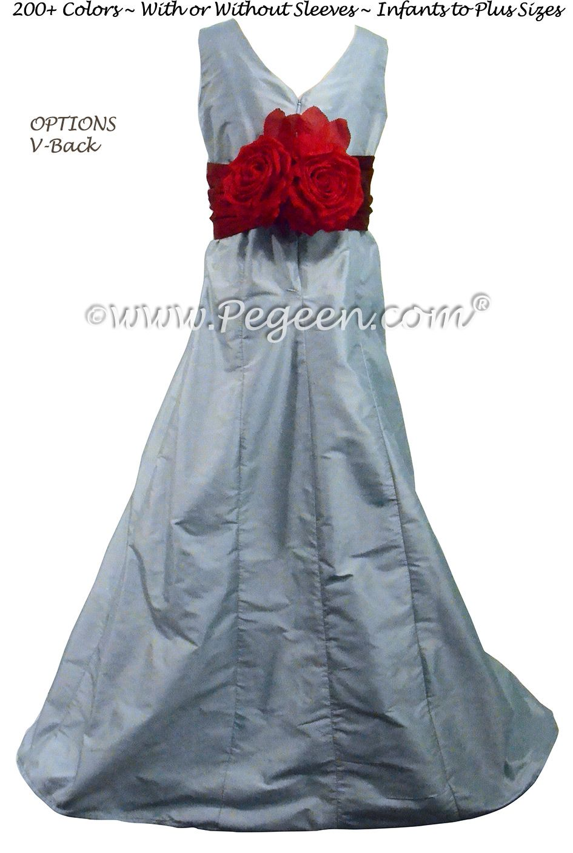 Powder blue silk jr bridesmaids dress style by pegeen by pegeen