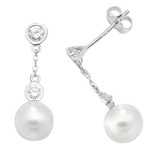 9ct White Gold Cz Pearl Drop Stud Earrings 16x6mm Gift Https