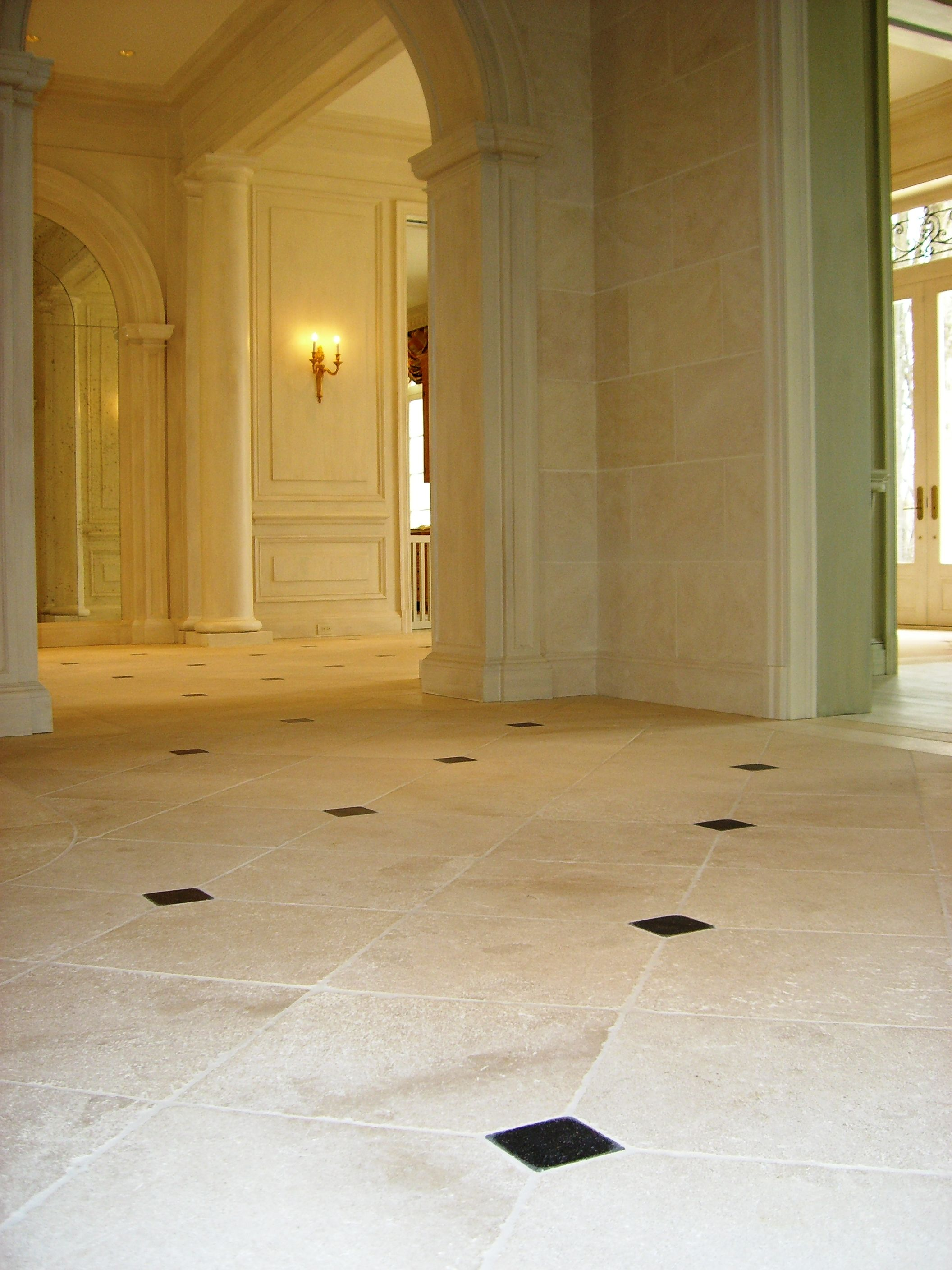 French Limestone Flooring With Cabuchons And Wall Cladding
