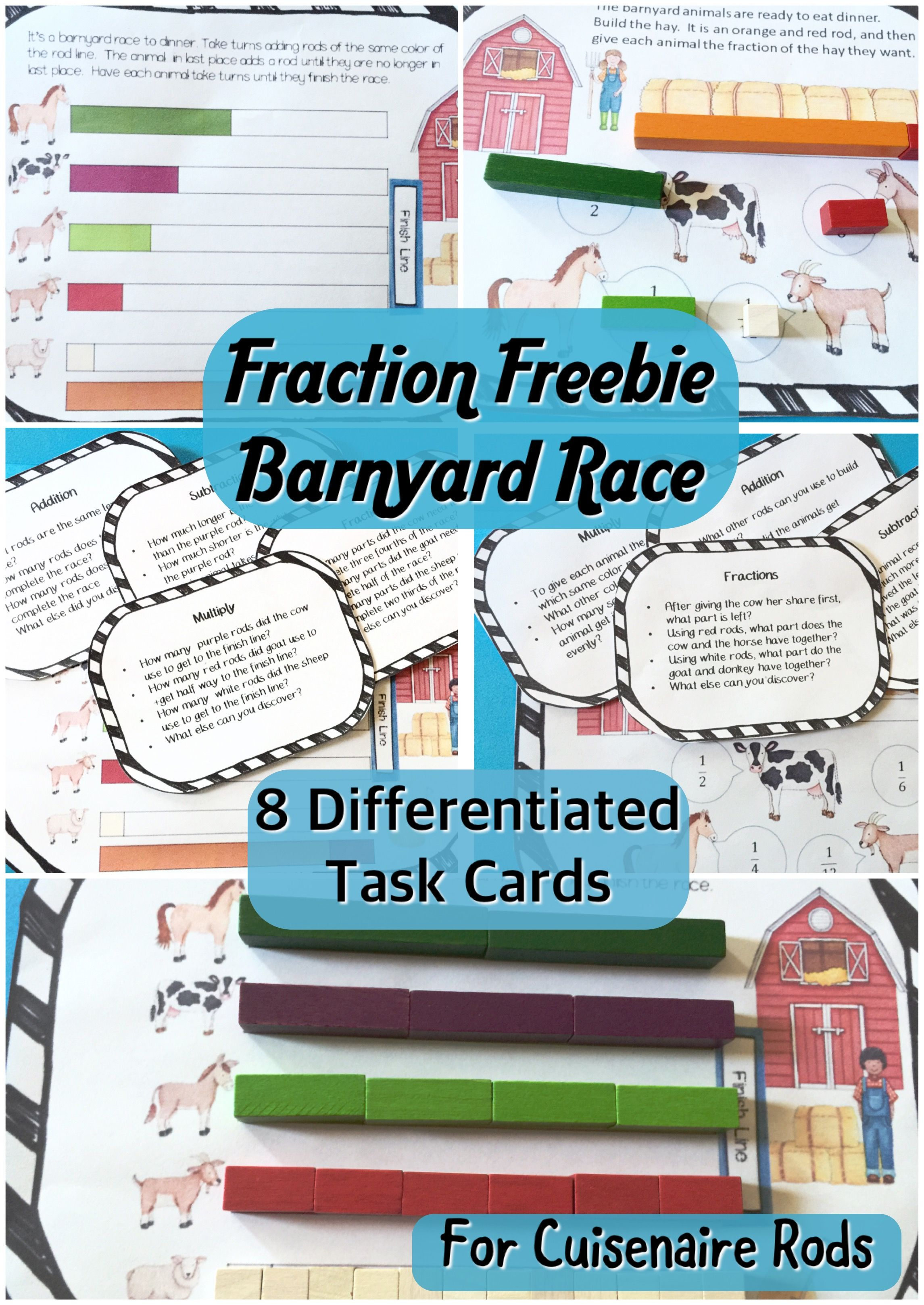 Pdl S Barnyard Fraction Race Game For Cuisenaire Rods