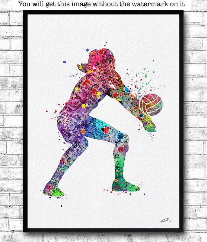 Rainbow Girl Volleyball Player Watercolor Print Sports Print Volleyball Poster Sports Art Print Volleyball Posters Sports Art