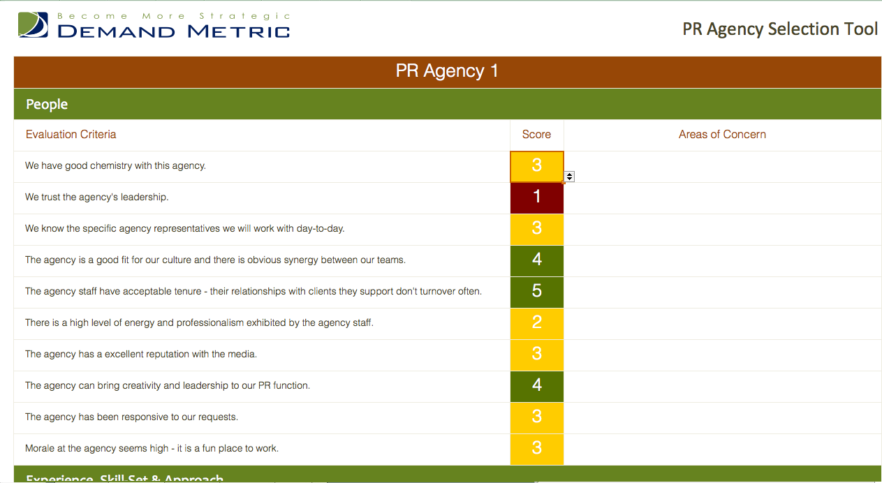 Pr Agency Selection Tool  Use This To Assess Score  Compare Pr