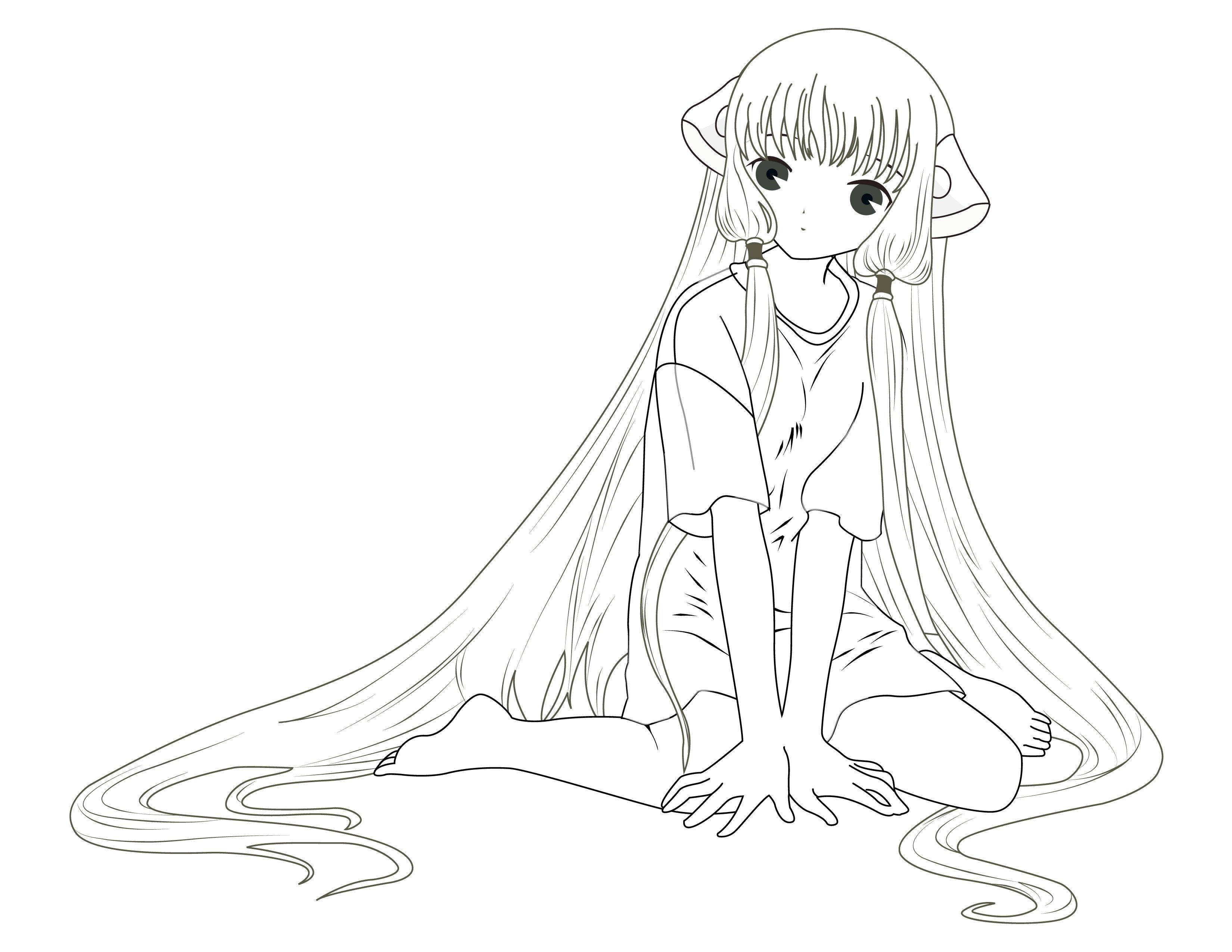 coloriage personnage fillette manga gratuit  Dessin ange