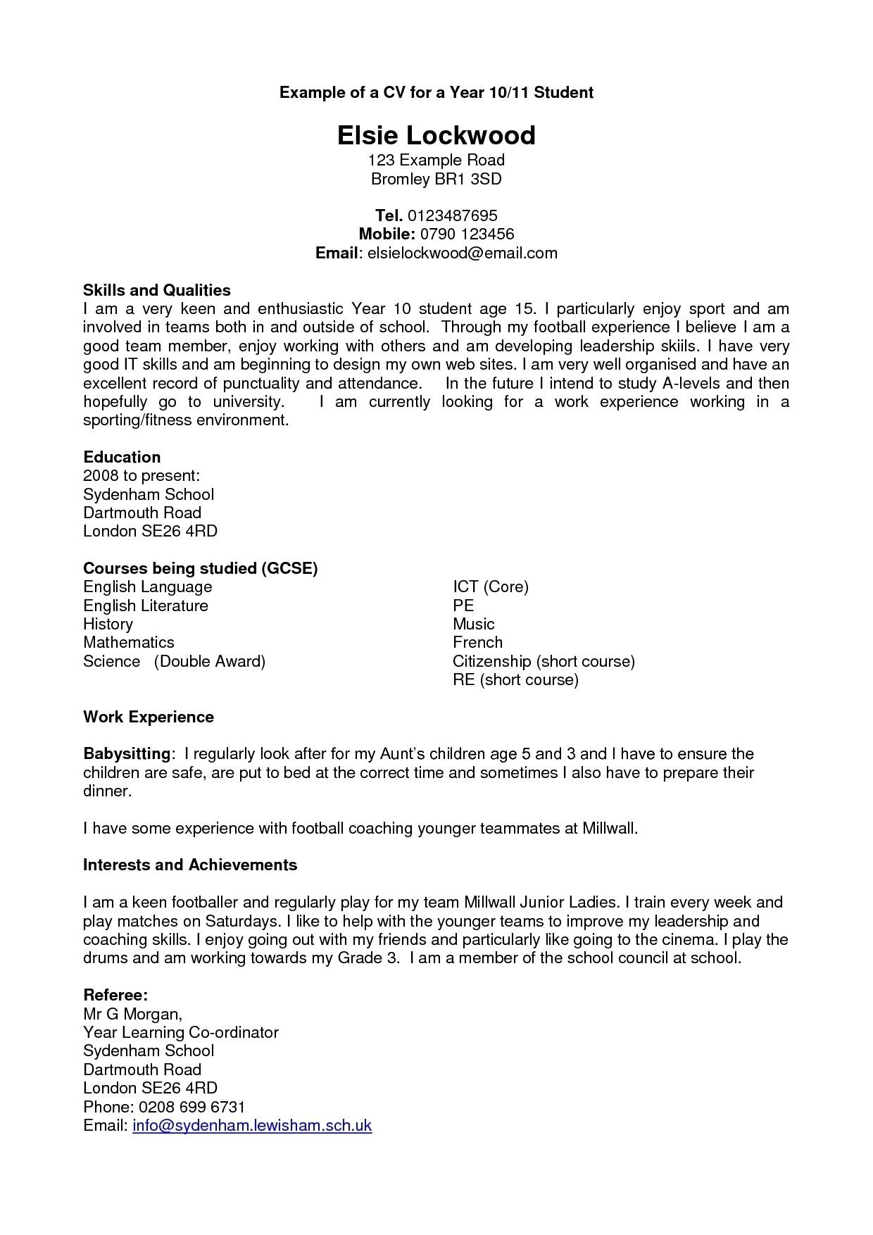 Cv Template Year 10 Resume examples, Student resume