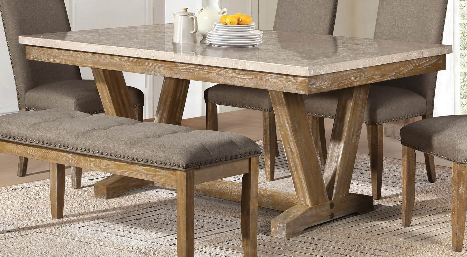 5470 72 Casual Weathered Wood Finish Dining Table Faux Marble Top