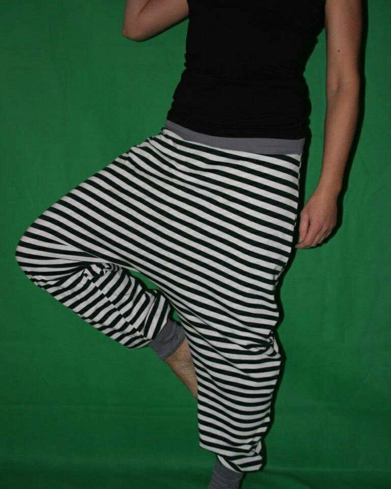 Gestreifter Haremshose Sarouel Buggyhose striped Harempants - gestreifte grne wnde
