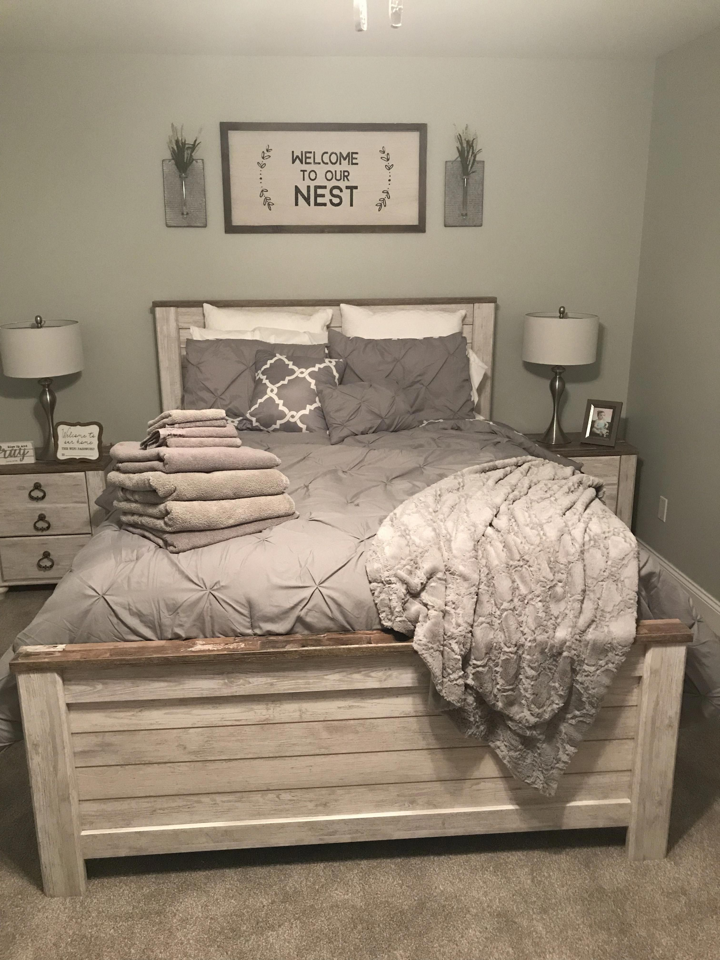 Guest Bedroom Ideas Sign From Hobby Lobby Bedding From Target Bed Set From Farmhouse Bedroom Furniture Master Bedroom Color Schemes Bedroom Furniture Design