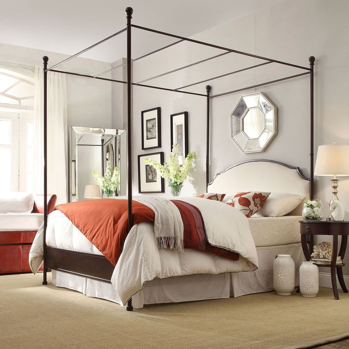 Andover Cream White Curved Top Cherry Brown Metal Canopy Poster Bed by  iNSPIRE Q Classic by iNSPIRE Q