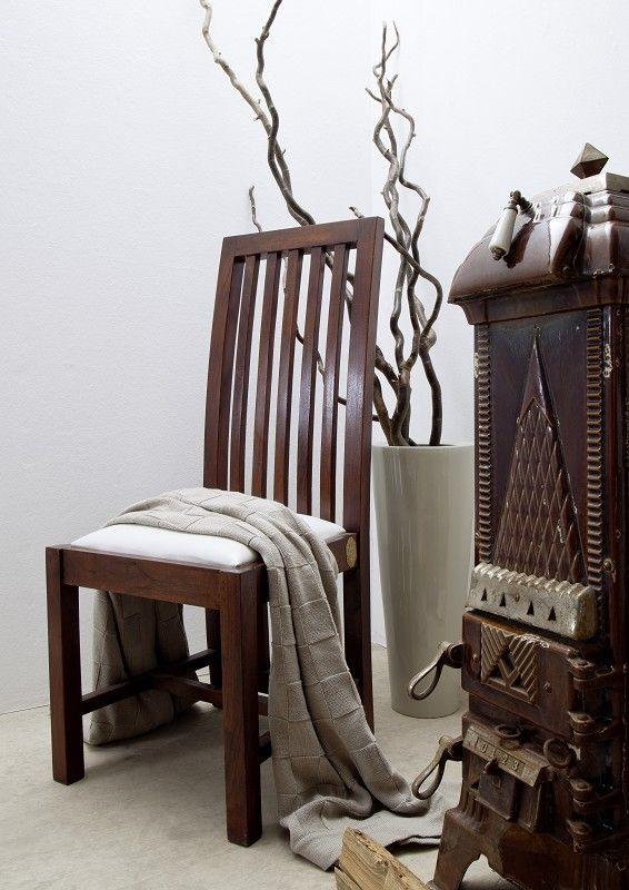 Möbel kolonialstil weiß  Kolonialstil Stuhl Polster weiss Akazie massiv Möbel ZENO OXFORD #30 ...