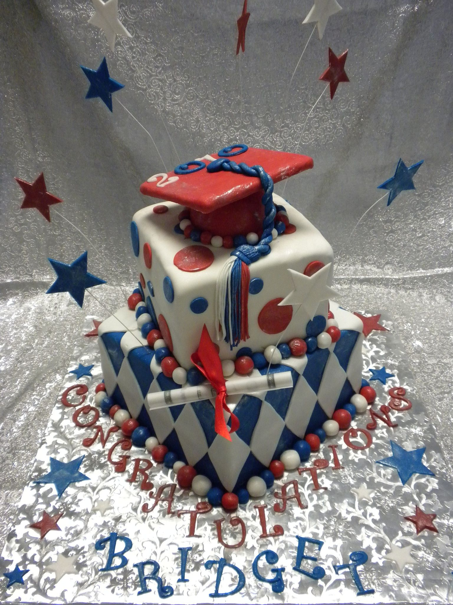 Red White Amp Blue Graduation Cake