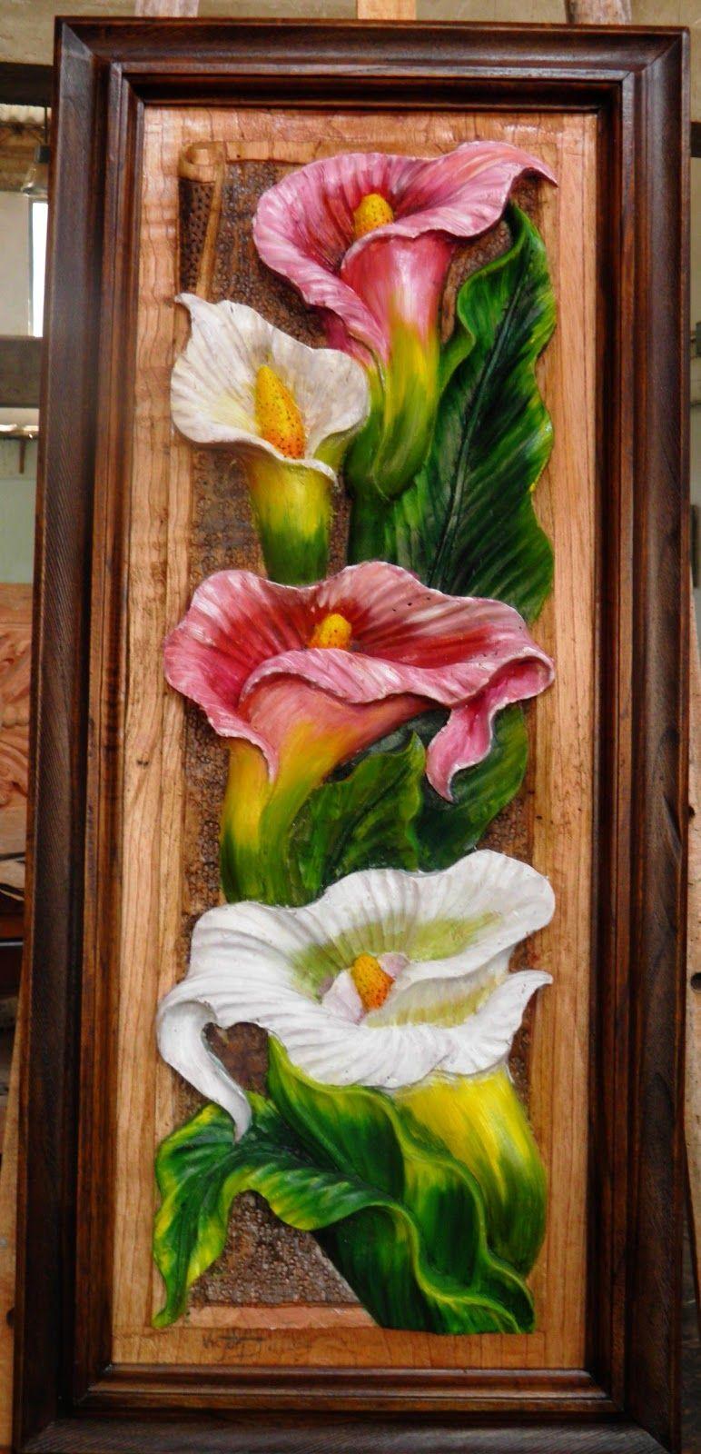cuadros de girasoles tallados en madera - Buscar con Google   Clay wall  art, Mural art, Wood art