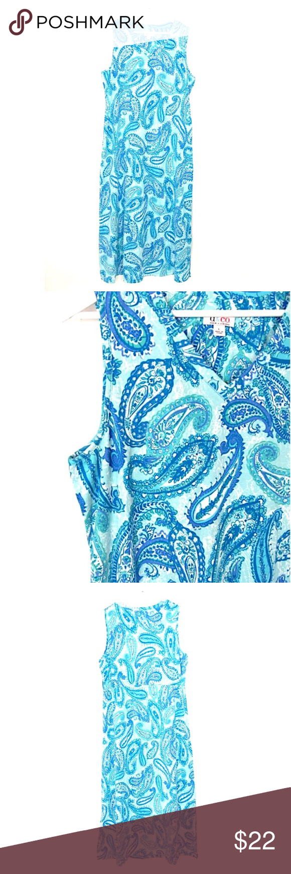 D Co Blue Paisley Knit Maxi Dress Sleeveless L Denim Co Essentials Blue Paisley Sleeveless Maxi Dress Sz L Knit Long V Maxi Knit Dress Blue Paisley Paisley [ 1740 x 580 Pixel ]
