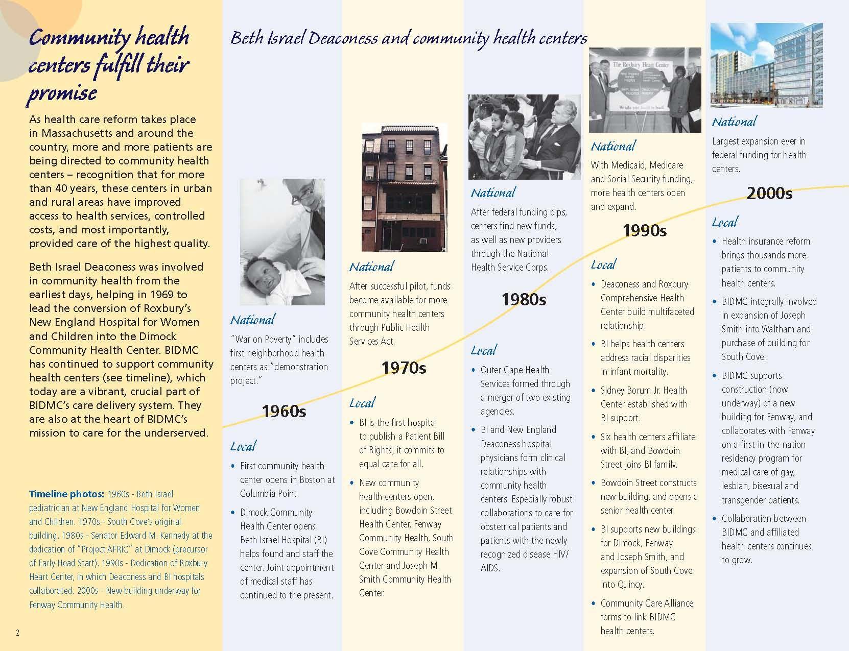 Timeline, i like how it leads the eye up Health care