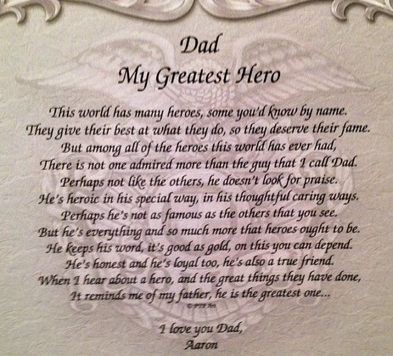 my daddy my hero essay My father my hero when i was growing up my dad was my best friend every night i would wait until 8 00 for him to get off of work i would hear the car.