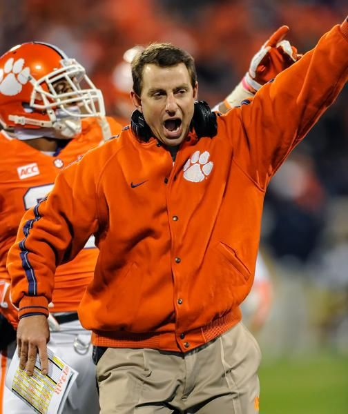 Clemson Head Coach Dabo Swinney Reacts After His Team Recovered A