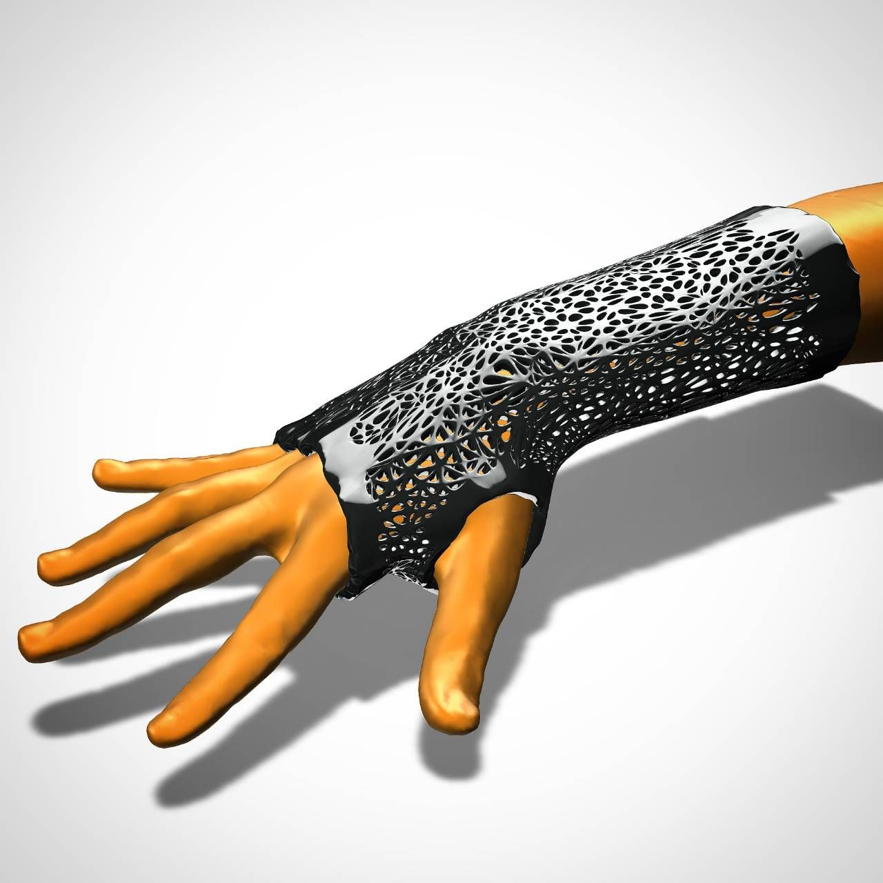 Arm splint model with Voronoi perforation pattern  Design based on