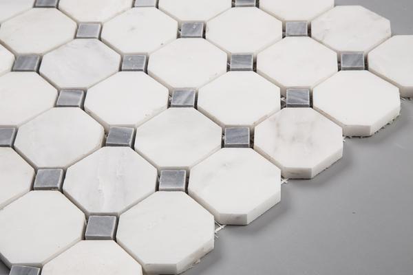 Polished Carrara White Marble 2 Octagon Mosaic Tile Bathroom Tiles