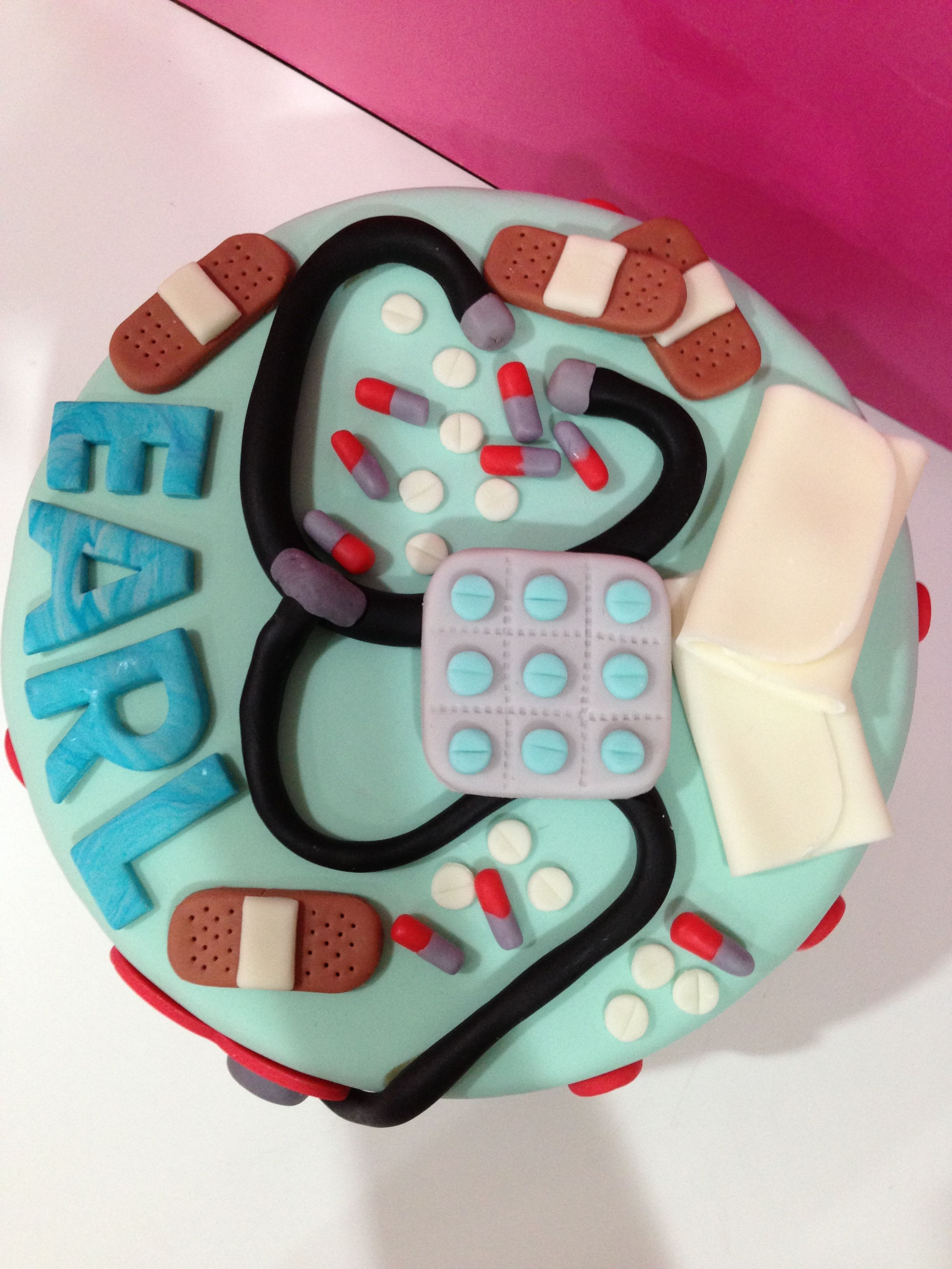 Top shot of doctors cake Creations by dotsNpink CupCakery