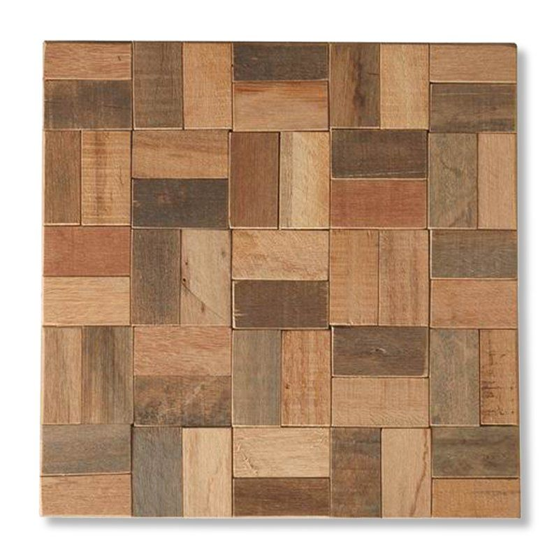 Natural Wood Mosaic Square 12 X 12 In Teakwood Wall Tile Set Of 12 Find It At The Foundary Wood Mosaic Decorative Tile Tayse Rugs