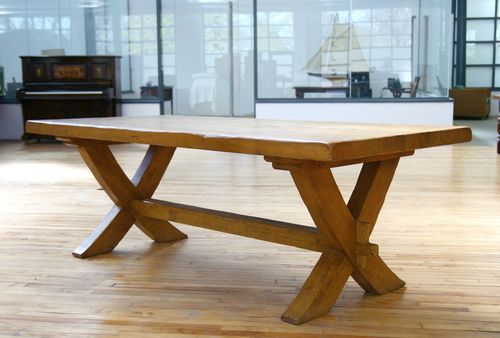 French Oak Dining Table Heavy Large Solid Oak Farmhouse Trestle Refectory Table | eBay