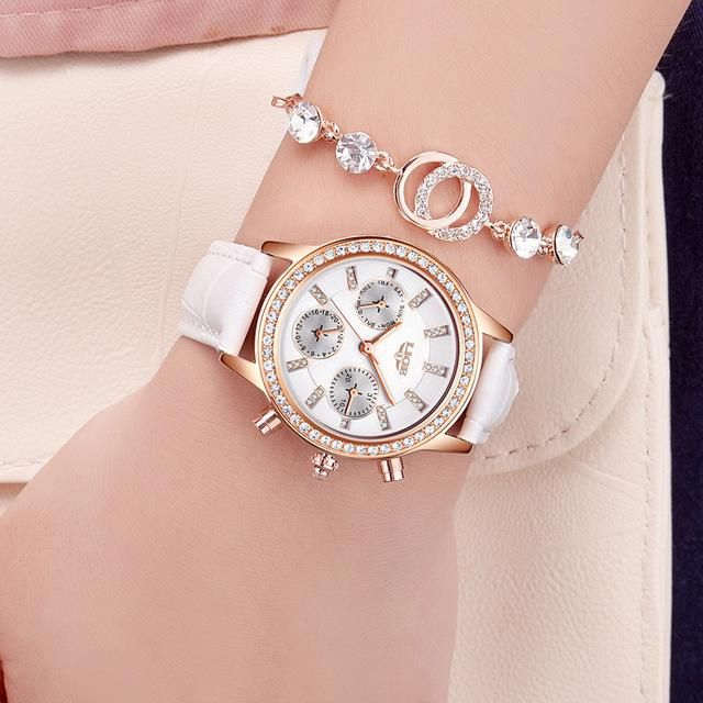 50c66c26b2a Women Watches LIGE Luxury Brand Girl Quartz Watch Casual Leather Ladies  Dress Watches Women Clock
