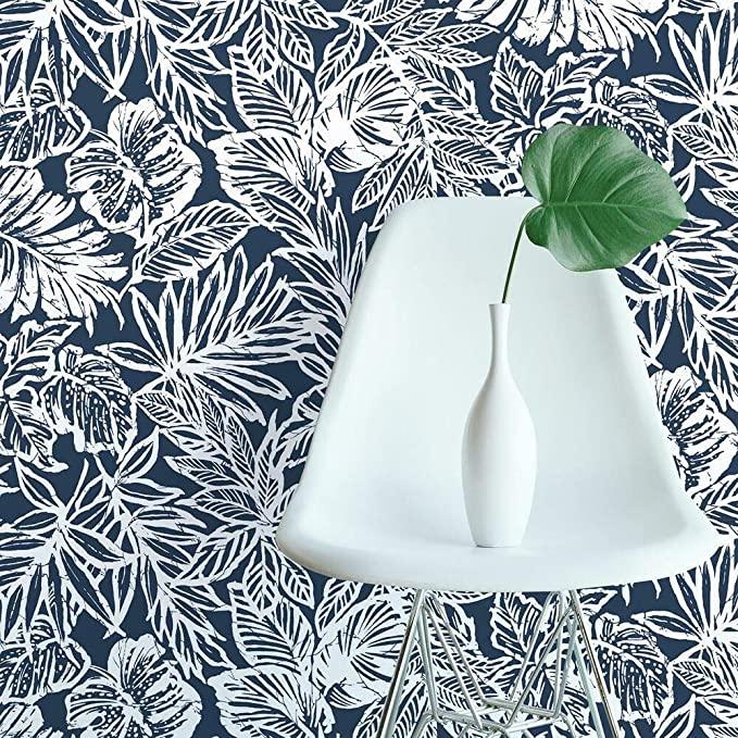Amazon Com Roommates Blue Batik Tropical Leaf Peel And Stick Wallpaper Home Improvement Peel And Stick Wallpaper Tropical Leaves Pattern Wallpaper Roll