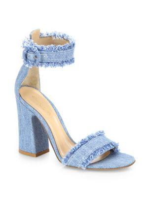 8e39e14855 GIANVITO ROSSI Kiki Frayed Denim Ankle-Strap Block-Heel Sandals.  #gianvitorossi #shoes #sandals
