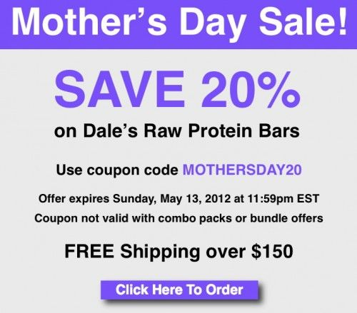Save 20% on protein bars through May 13!