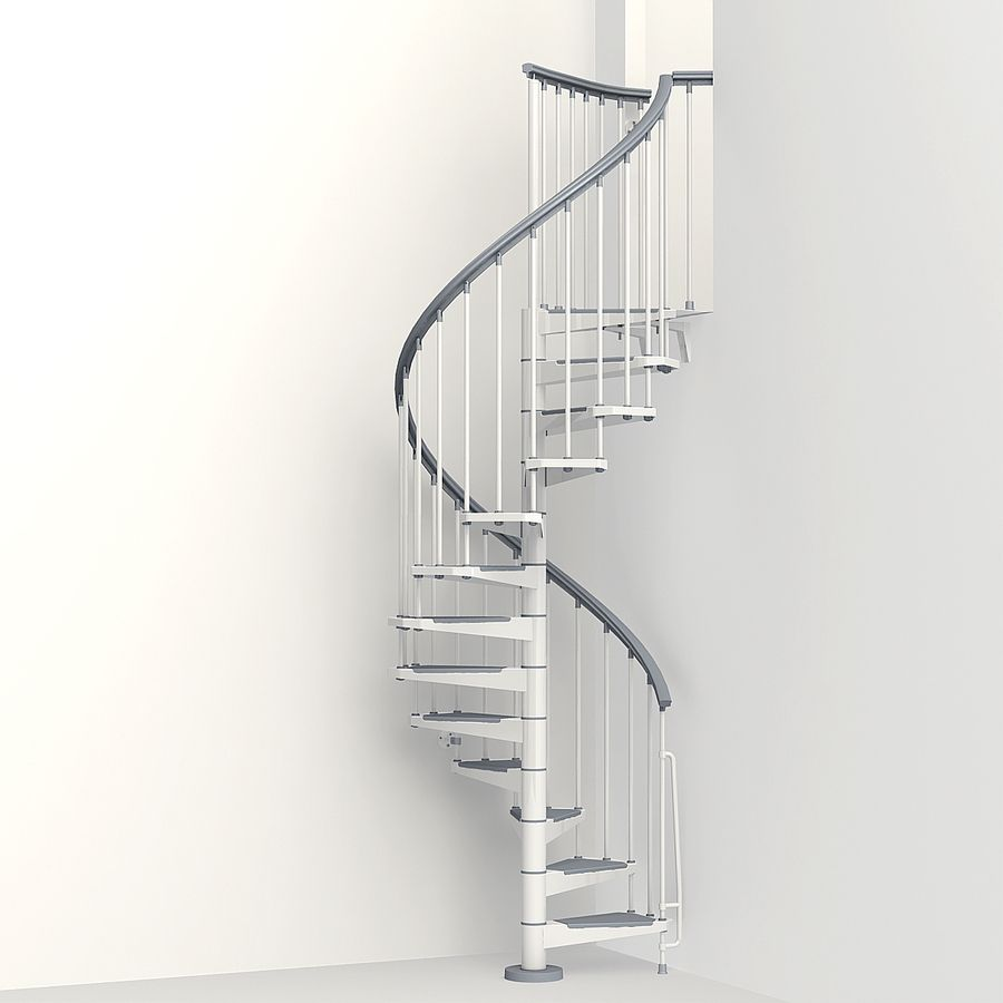 Shop Arke Eureka 10 Ft White Spiral Staircase Kit At Lowes Com