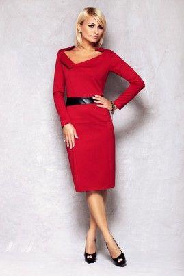 Angesagtes Rot Edles Elegantes Damen Kleid Femininer Enger Schnitt Mit Langen Armeln Und Weitem Auschnitt Fashion Dresses Wholesale Clothing