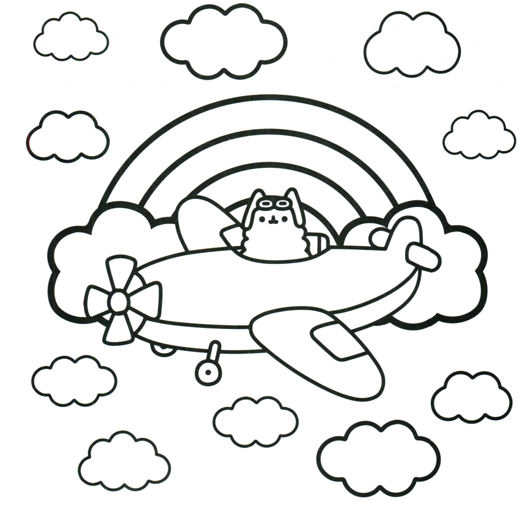 Pusheen Coloring Pages Airplane coloring pages, Pusheen