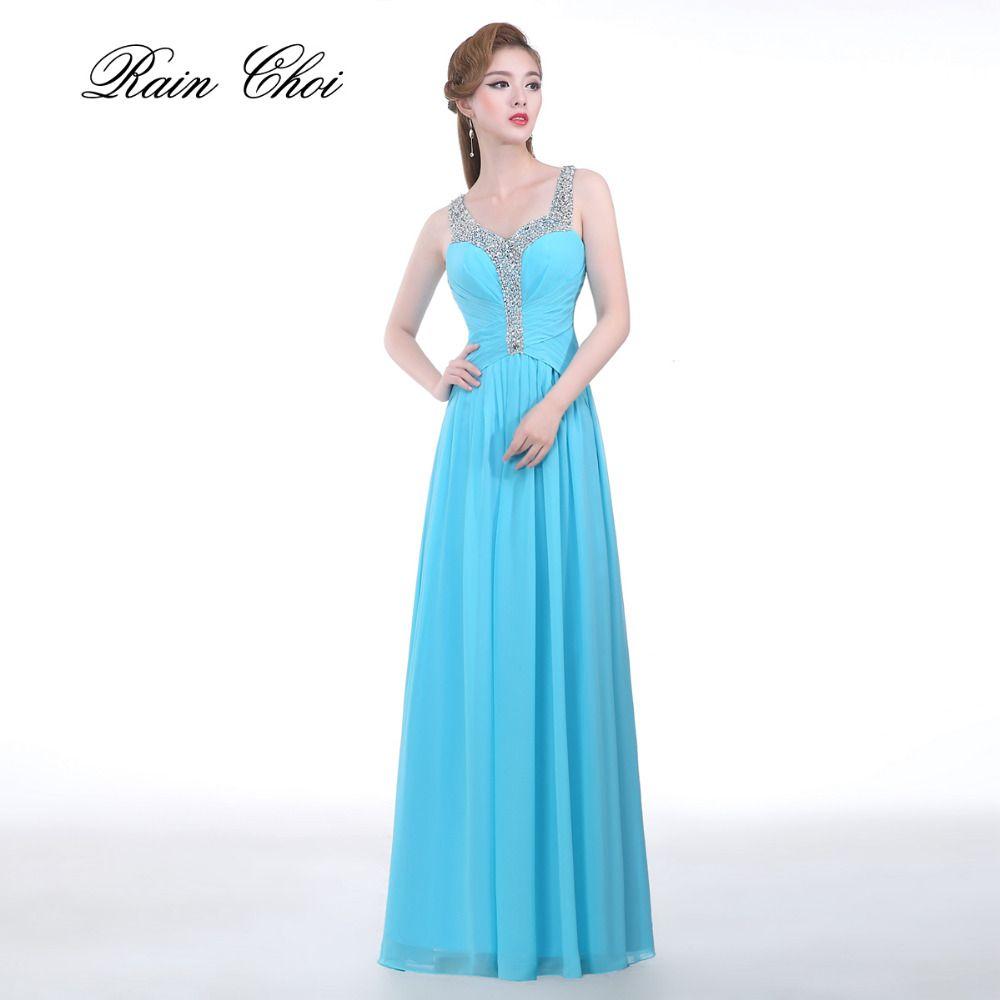 Floor Length A Line Elegant Bridesmaid Gowns 2017 Chiffon Formal ...