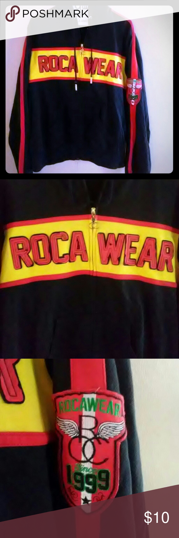 Hoody Jacket Hooded black Red and Yellow Jacket Rocawear ...