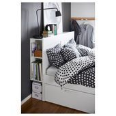 BRIMNES Bed frame with storage & headboard – white, Lönset – IKEA       This im… – Modern