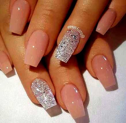 32 trendy nails acrylic coffin short glitter nails