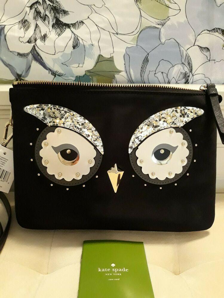 ad0b3a6a8c7c Kate Spade Star Bright Owl Madelyn Crossbody Black Nylon Bag NWT ...