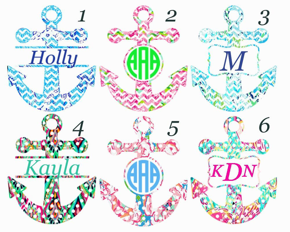 Anchor Monogram Anchor Decal Monogram Decal Vinyl Decal - Anchor custom vinyl decals for car