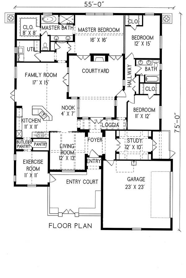 Plan 1 1239 Period Style Homes Plan Sales Spanish Style Homes House Plans Courtyard House Plans