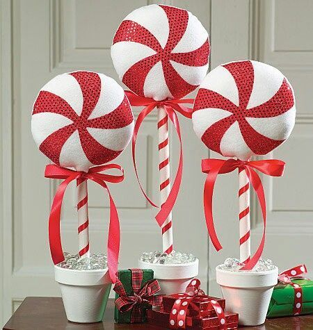 Candy Cane Decorations Navidad Caramelos Topiario  Porcelanicron  Pinterest  Holidays