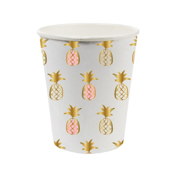 Pineapple paper Cups. Set of 8. Pineapple print party cups. Tropical party cup. Luau tableware. Pineapple party decor. Pineapple tableware  sc 1 st  Pinterest & Pineapple paper Cups. Set of 8. Pineapple print party cups. Tropical ...