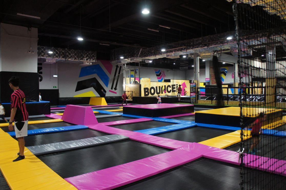 Jump Around Bounce Inc Trampoline Park Opens At Emax Kowloon Bay Trampoline Park Kids Indoor Playground Trampoline Room