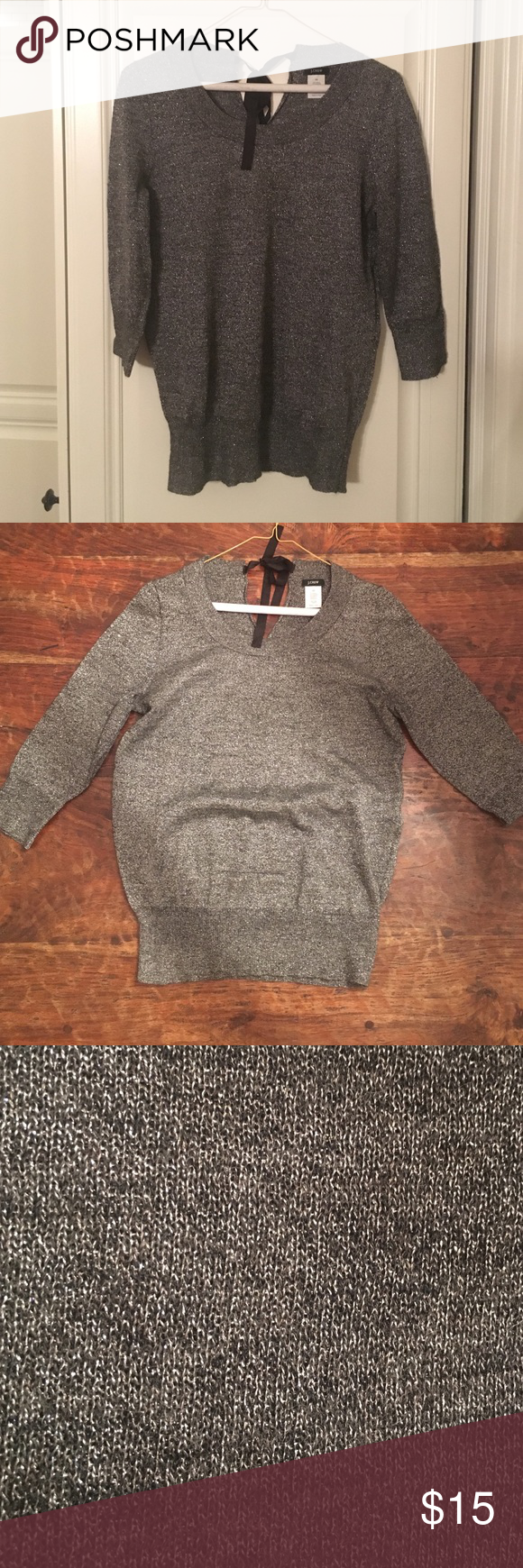 J.Crew metallic sweater Silver, sparkly quarter sleeve sweater with black ribbon tie (DISCLAIMER: horizontal run on the bottom front side) J. Crew Sweaters Crew & Scoop Necks