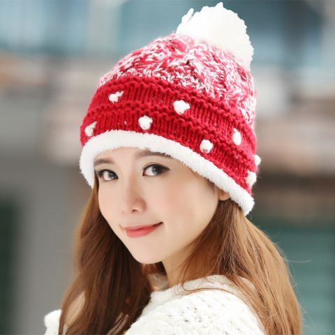 Winter beanie hats with ball on top red and white knit hat for women ... 716f1e642c8