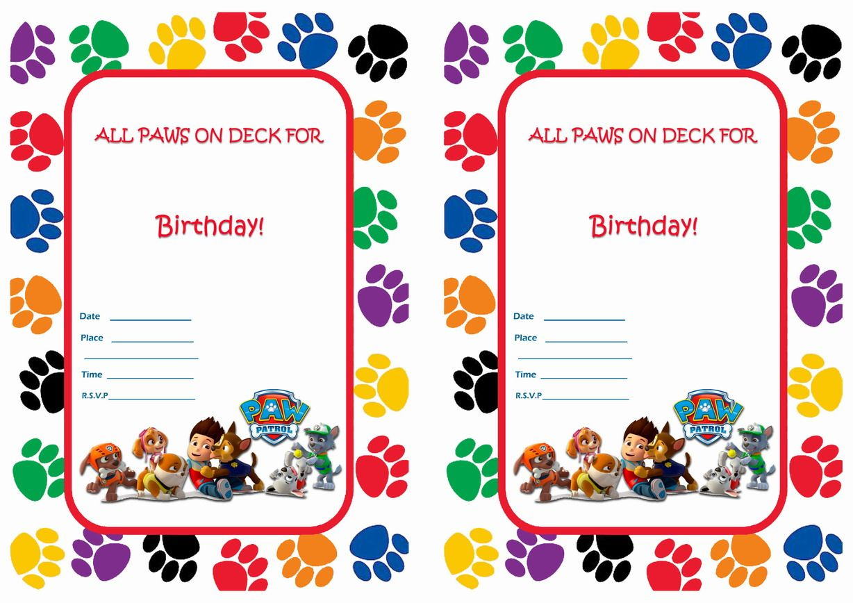 Sly image for free printable paw patrol birthday invitations