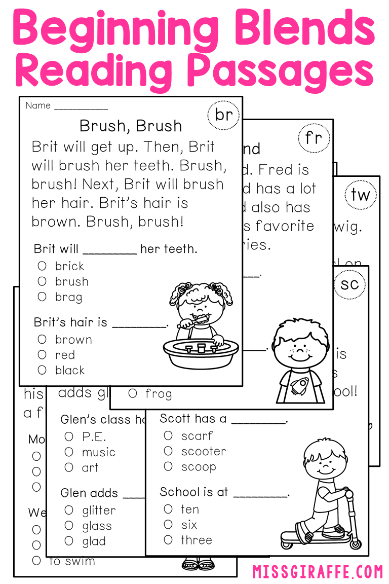 Blends Worksheets That Are Fantastic Beginning Blends Reading Passages That Practice P Reading Passages Reading Comprehension Passages Phonics Reading Passages [ 1152 x 768 Pixel ]