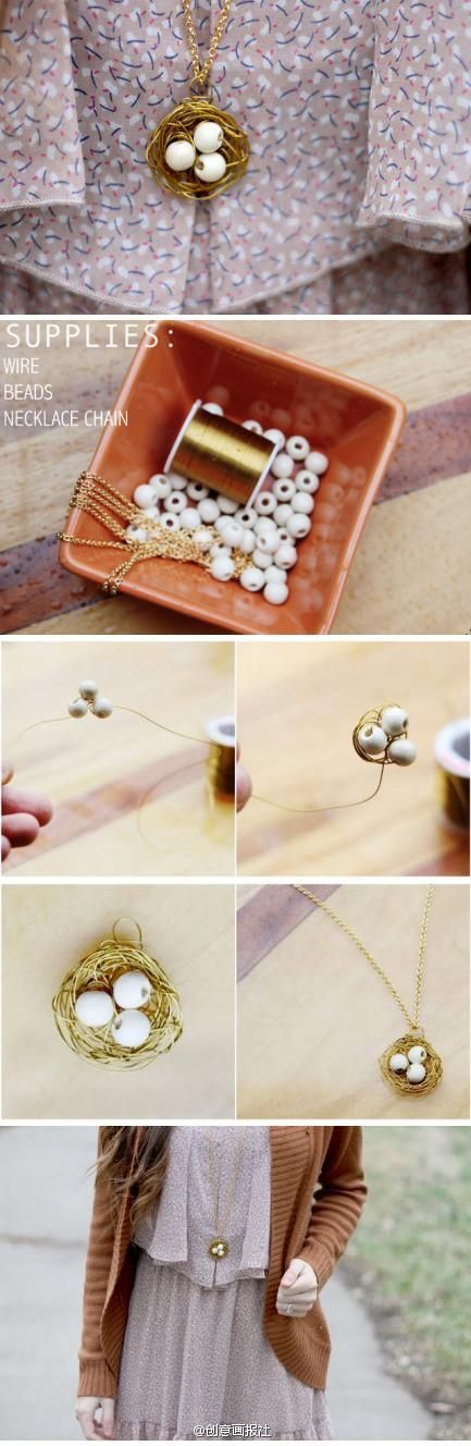 7eccfc11acf0 DIY Bird Nest Necklace DIY Projects Manualidades Sencillas Y Bonitas